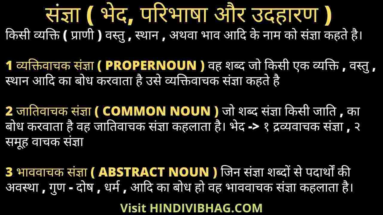 Sangya in Hindi vyakran with example