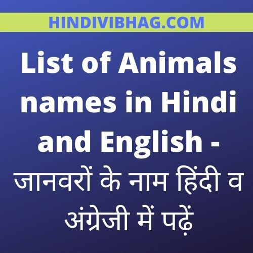 List of animals names in hindi